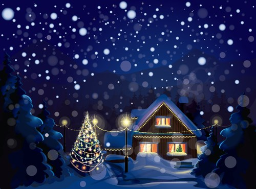 Set of Christmas Night landscapes elements vector 02
