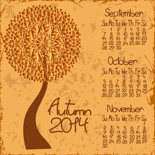 2014 year calendar vector set 02