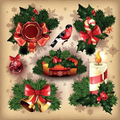 Different Christmas ornaments Illustration vector  05