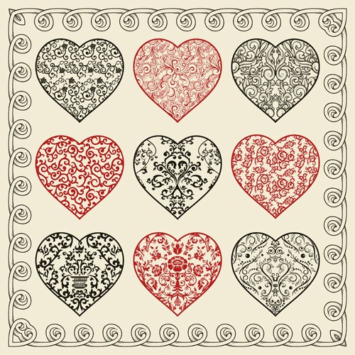 Drawing Heart Valentine day design elements vector