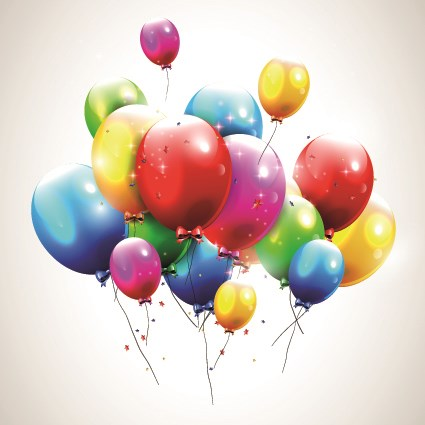 Happy birthday balloons of greeting card vector 07
