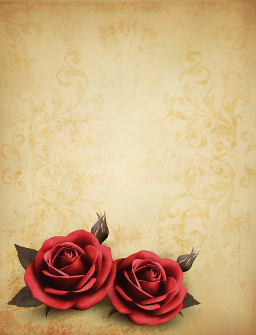 Roses And Vintage Background Vector 02 Free Download