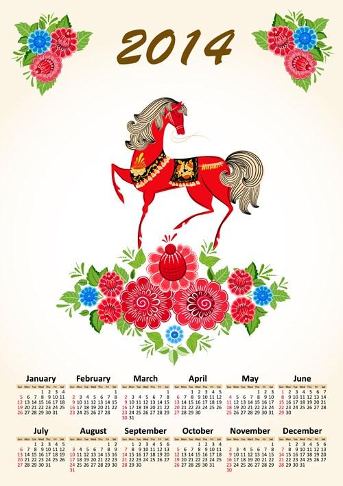 Calendar 2014 Horse design vector 09