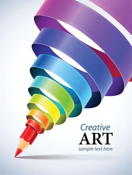 creative ribbons cone art background vector 04